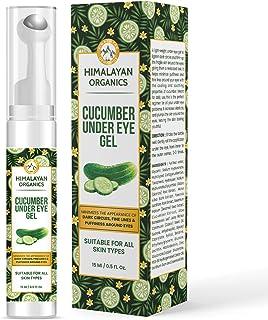 Himalayan Organics Cucumber Under Eye Gel with Massage Roller to Reduce Dark, Puffiness & Fine Lines with Castor Oil, Vita...
