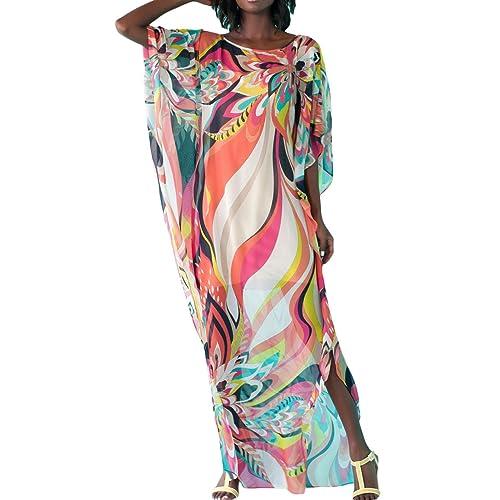 c312d7bf34 FreestyleMo Women s Summer Bikini Cover up Oversized Floral Chiffon Long  Maxi Dress Beach Kaftan Smock