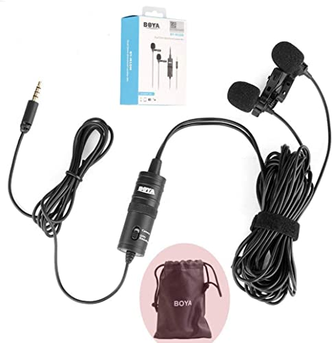 BOYA BY-M1DM Dual Lavalier Universal Microphone with a Single 1/8 Stereo Connector for Smartphones DSLR Camears Camco...
