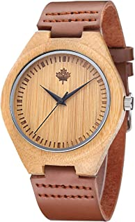 Tamlee Bamboo Wooden Mens Watch with Cow Leather Strap Quartz Analog Fashion Casual Unisex Wood Engraved Lightweight Wristwatch