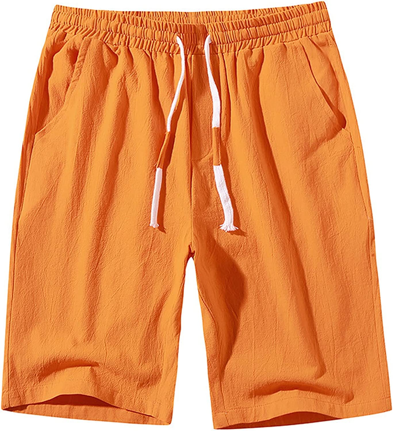 Men's Shorts Casual Classic Fit Drawstring Summer Beach Shorts with Elastic Waist and Pockets Leisure Cotton Shorts