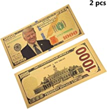 DocBrother 2Pcs USA President Donald Trump 1000 Dollars Gold Foil Banknote for Collection Commemorative 45th President of USA