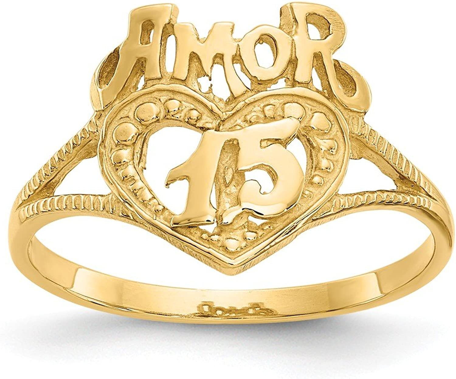 Beautiful Yellow gold 14K Yellowgold 14K 15 Amor Heart Ring