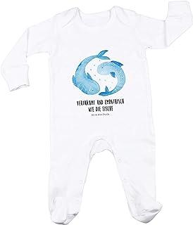 Mr. & Mrs. Panda Mr. & Mrs. Panda Neugeborenes, Geburt, 3-6 Monate Baby Strampler Sternzeichen Fische mit Spruch - Farbe Weiß