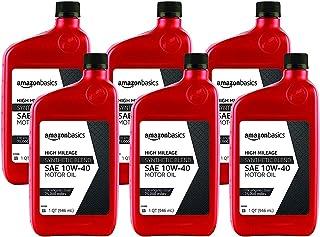 AmazonBasics High Mileage Motor Oil - Synthetic Blend - 10W-40 - 1 Quart-6 Pack