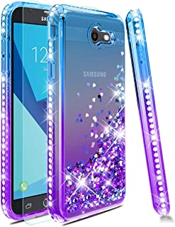 Samsung Galaxy J3 2017 Case,Galaxy J3 Emerge/Prime/Eclipse/Express Prime 2/J3 Luna Pro/Amp Prime 2 Phone Case W/ Tempered Glass Screen Protector,Glitter Quicksand Diamond Protective Cover-Teal/Purple