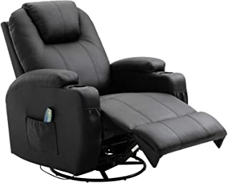 Suncoo Massage Recliner Chair Bonded Leather Ergonomic Lounge Heated Chair 360 Degrees Swivel Recliner with Cup Holders (Brown)¡­
