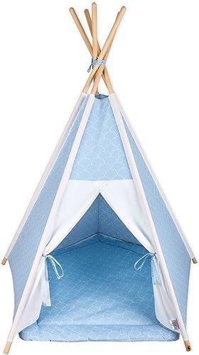 encuentra tu favorito aquí Fuerza Kids parte tienda Tipi Uni blanco y blancoas halbkreise halbkreise halbkreise en pastel azul Talla Ausstattung Tipi inkl. Spielmatte und 2 Sternkisse  la calidad primero los consumidores primero