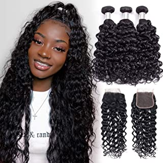 Alibeauty 9A Water Wave Bundles with Closure(12 14 16+10)Wet and Wavy Brazilian Human Hair 3 Bundles with Closure Soft Remy Hair Weave