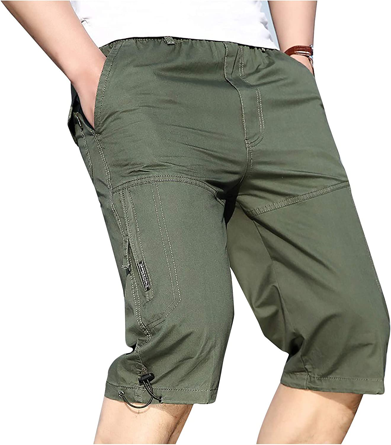 Navyoom Mens Shorts Casual Running Shorts Solid Color Knee Length Trousers Summer Loose Short Pants with Five Pockets