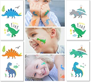 Hugo & Emmy Dinosaur Temporary Tattoos for Kids - 12 Sheets/ 24 Tattoos   Dinosaur Party Favors, Birthday Party Supplies, T-Rex Decorations