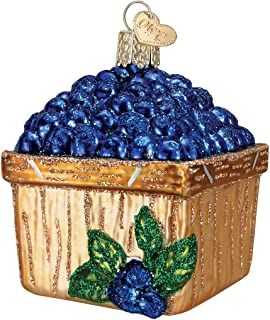 Old World Christmas Ornaments: Basket of Blueberries Glass Blown Ornaments for Christmas Tree