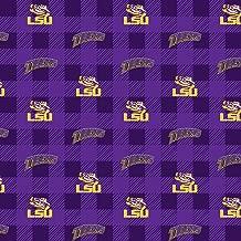 University of Louisiana Fleece Blanket Fabric-LSU Tigers Fleece Fabric with Buffalo Plaid Design