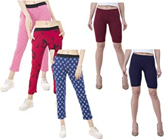 IndiWeaves Women's Combo Pack of Solid Cycling Short and Printed Lower (Pack of 5)