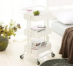 DOEWORKS Storage Cart 3 Tier Metal Utility Cart Rolling Organizer Cart with Wheels Art Cart White