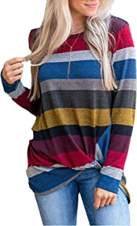 Women's Crewneck Stripe T Shirts Color Block Long Sleeve Tops Blouses Tees with Knot Front