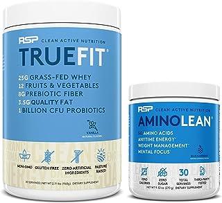 AminoLean Pre Workout Energy (Blue Raspberry 30 Servings) with TrueFit Protein Powder (Vanilla 2 LB)