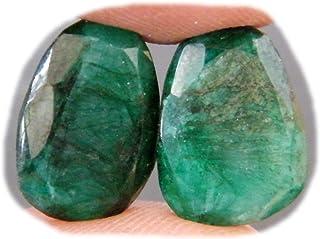 RASIO Par de cabujón de berilo verde esmeralda, piedra preciosa de berilo facetada, forma ovalada de 17 quilates, 18 x 13 ...