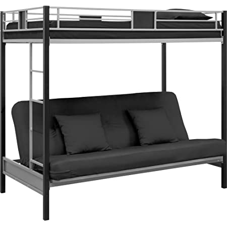 Amazon Com Dhp Twin Over Futon Convertible Couch And Bed With Metal Frame And Ladder Black Furniture Decor