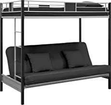DHP Silver Screen Metal Bunk Bed with Ladder, Black, Twin