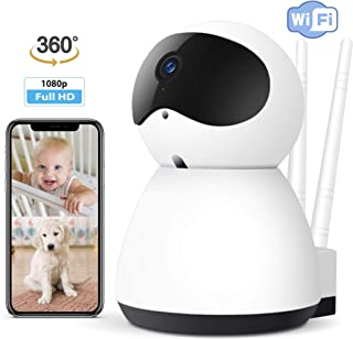 Smart WiFi Camera 1080P High Definition Wireless Home/Business Security Surveillance Cam Recorder - Pet/Baby/Nanny/Elder Monitor, 360 Degree, Night Vision, Two-Way Audio, Motion & Sound Detection
