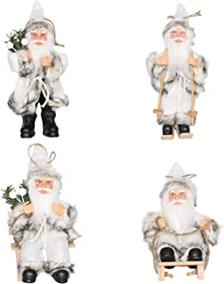 CHENGMON Christmas Santa Claus Ornaments Decorations Tree Hanging Figurines Collection Doll Penda Small Traditional Holding Home Decors Set of 4 Pcs Assortment Pack 6