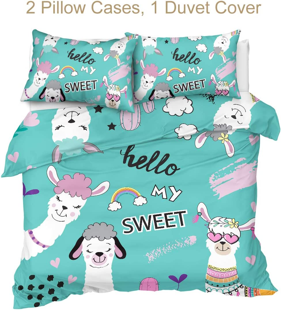 Sleepwish Llama Bedding Duvet Cover Sets Funny Llama Pink Bubble Bedding Set Black Pink 3 Pieces Women Soft Comforter Cover and 2 Pillowcases Queen