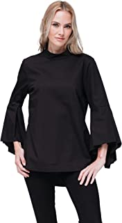 Pleione Bell-Sleeve Mock Neck Hi-lo Tunic Shirt Blouse
