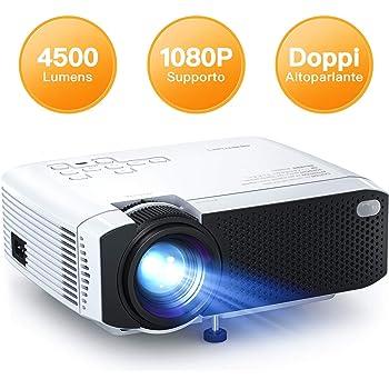 Proiettore APEMAN 4500 Lumen Mini Videoproiettore Portatile Doppio Altoparlante del LED fino 50000 Ore Cinema Domestico Compatibile 1080P HDMI/USB/VGA/Micro SD Supporto Android IOS TV Box