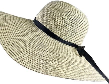 Liuliuliu Women Colorful Big Brim Straw Bow Hat Sun Floppy Wide Brim Hats Beach Cap Beach Hat