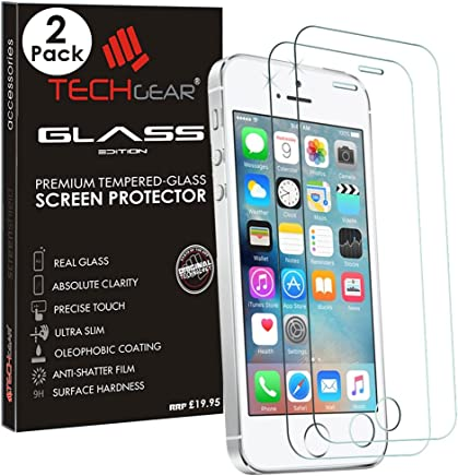 TECHGEAR [2 Pack GLASS Edition for iPhone SE / 5s / 5c / 5, Genuine Tempered Glass Screen Protector Guard Cover Compatible with Apple iPhone SE / 5s / 5c / 5