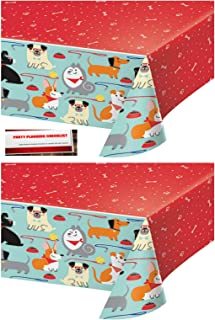 2 Pack - Puppy Dog Birthday Party Plastic Table Cover 54 x 102 Inches (Plus Party Planning Checklist by Mikes Super Store)