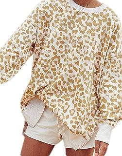 FSSE Women's Top Long Sleeve Fall Leopard Print Irregular Pullover Sweatshirt