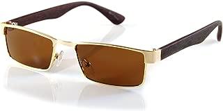 FBL XSmall Metal Flat Top Wood Feel Temple Narrow Rectangle Sunglasses A192
