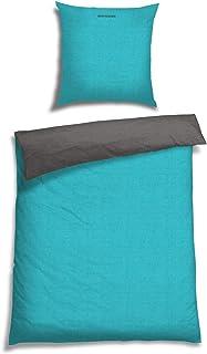 Schiesser Juego de cama doble cara petróleo antracita /2piezas/100% algodón/disponiblesvarias tallas:, 100% algodón, turquesa, 155 cm x 220 cm + 80 x 80 cm