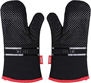 Deik Oven Mitts, Oven Gloves, 464°F Heat Resistant Non-Slip Silicone Oven Mitts, Oven Mitt for Cooking, Baking, Barbecue, 1 Pair, Black