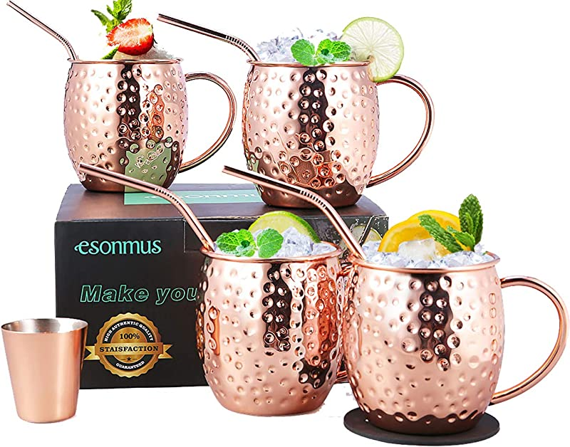 Moscow Mule Copper Mugs Esonmus Set Of 4 Handcrafted Copper Mugs For Moscow Mule Cocktail Food Safe Mule Mugs 16 Oz Gift Set With Bonus 1 Jigger 4 Straws 4 Coasters