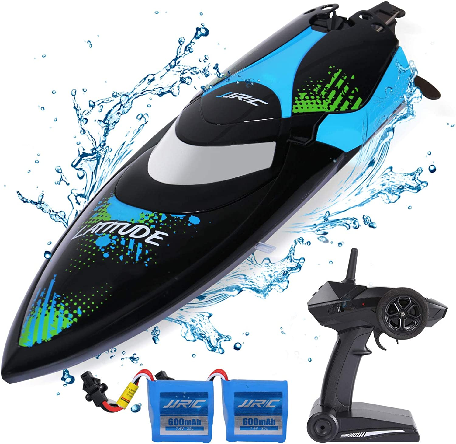 SGILE RC Boat Toys for Pool & Outdoor Use  2.4GHz 25KM H HighSpeed Remote Control Racing Boat with Extra Battery  Double Waterproof Layers, Capsize Recovery, Gift Set for Adults & KidsBlack
