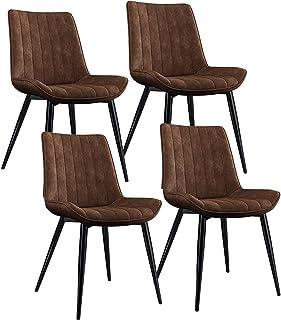 ZCXBHD Conjunto de 4 Sillas Comedor Clásico Sillas Cocina Salón Ocio Sala Sillas de la Esquina con Patas de Metal Cuero de la PU Asiento y Respaldos (Color : Brown)