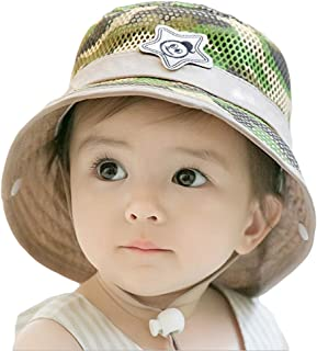 9e79f9c5bff Roffatide Baby Toddler Infant Mesh Camo Boonie Fishing Bucket Sun Hat  Summer Cap with Chin Strap