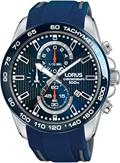 RM389CX9 - Lorus Sports, Quartz, 100m Water Resistant, Chronograph, Tachymeter, Silicone Strap, Blue and Silver