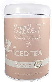 LITTLE T Kids Tea - Pixie Pink Punch Tin - Organic Herbal Tea (Iced) for Kids | Sugar-Free | Caffeine-Free | Antioxidant-rich | Immune-Boosting | Fruity Iced Loose Leaf Tea Sachets (makes 1 gallon)