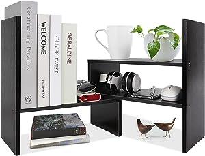 Desk Shelf Organizer, Wood Desktop Bookshelf Organizers and Storage, Small Desk Shelves for Office Supplies, Desk Organization for Study Room Simple Assembly Adjustable Table Shelf, Black