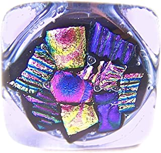 Dichroic Glass Knobs Custom Made Abstract Confetti Mosaic - Cabinet or Drawer Pull Handle - 1