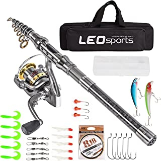 Leo Telescopic Fishing Rod and Reel Combos with Full Kits and Carrier Bag Carbon Fiber Fishing Pole for Travel Saltwater F...