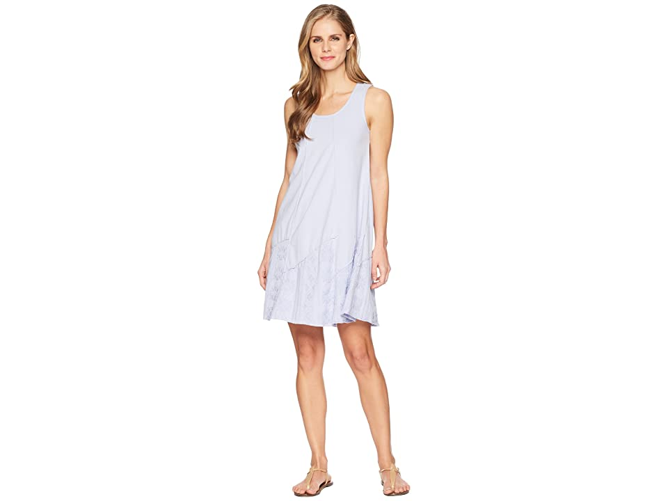 Mod-o-doc Classic Jersey Embroidered Panel Tank Dress (Pale Pansy) Women