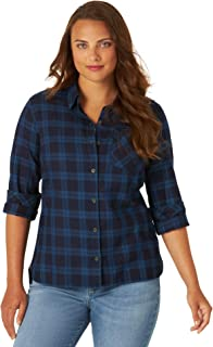 Riders by Lee Indigo Womens Heritage Long Sleeve Button Front Plaid Flannel Shirt Long Sleeve Shirt