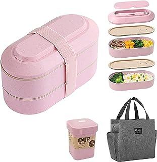 RESSZO Boîte à Lunch étanche Lunch Box Isotherme à 2 Couches 920ML Bento Box Boite a Tartine Enfant Boîte à Déjeuner De Tr...