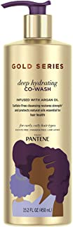 Gold Series from Pantene Sulfate-Free Deep Hydrating Co-Wash with Argan Oil for Curly, Coily Hair, 15.2 fl oz