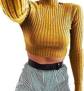 Women's Knit Pleated Turtleneck Short Crop Top Casual Long Sleeve Sweatshirt